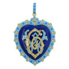 CARLO GIULIANO Enamel Pearl Diamond Locket