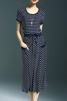 Blue and White Drawstring Striped Midi Dress #Blue_and_White #Stripes…