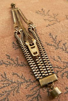 Uno Dos Tres cremallera pulseras  joyería de cobre amarillo