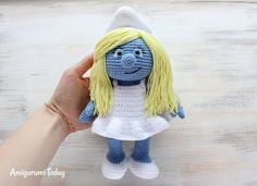 Crochet Smurfette, Free Crochet Amigurumi Pattern, stuffed toy, #haken, gratis patroon (Engels), smurfin, knuffel, speelgoed, #haakpatroon