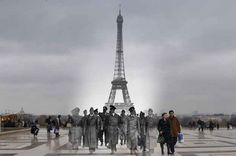 The Eiffel Tower, Paris, 1940. | 26 Ghostly Images Of World War Two, Blended With The Present