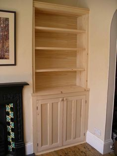 period style alcove cabinet in solid softwood ready for painting LIBRARY RIGHT… Alcove Ideas Living Room, My Living Room, Living Room Designs, Alcove Storage, Alcove Shelving, Alcove Cupboards, Built In Cupboards, Living Room Cupboards, Victorian Living Room