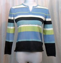Crazy Horse Liz Claiborne ladies striped sweater pullover womens size small