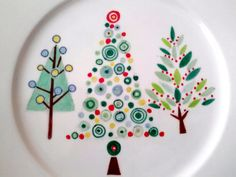 Retro Christmas Tree plate, Decorative purposes only. $20.00, via Etsy.