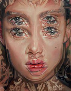 Gorgeously Surreal Portraits Painted to Resemble Double Vision - Malerei - Alex Garant {contemporary surrealism art beautiful female head multi-exposure blurred vision woman - Psychedelic Art, Alex Garant, Distortion Art, L'art Du Portrait, A Level Art, Ap Art, Gcse Art, Amazing Art, Art Drawings