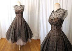 Show Stopper 1950's Black Lace w/ Cream Tulle New Look Party Dress Very Vintage Dior Rockabilly VLV Pinup Wedding Prom Dress Size-Small