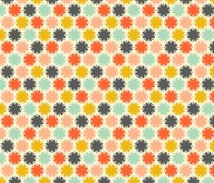 Bold blooms of mustard, seafoam, pink, red-orange and dark gray on an off-white background