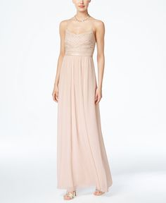 Adrianna Papell Beaded Chiffon Gown in Blush @ Macy's White Evening Gowns, Beaded Evening Gowns, White Ball Gowns, Chiffon Evening Dresses, Chiffon Gown, Beaded Chiffon, White Chiffon, Bridesmaid Dresses, Prom Dresses