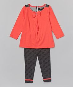 This Coral & Heather Charcoal Zoey Top & Leggings - Infant & Toddler by A.B.S. by Allen Schwartz is perfect! #zulilyfinds