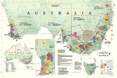 Wine Map Of Australia Education Poster - 91 x 61 cm Framed Maps, Wall Maps, Wine Varietals, Different Wines, France Map, Australia Map, Western Australia, In Vino Veritas, Ale