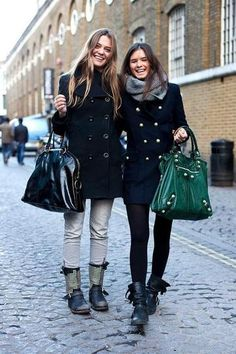 winter outfit idea - double breasted navy blue coats + winter boots