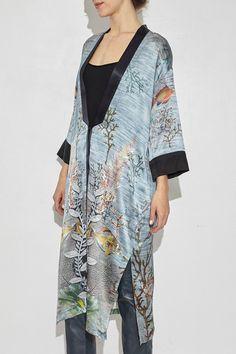 Onda Printed Silk Kimono Coat by Giada Forte   shopheist.com
