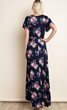 Marley Navy Floral Wrap Maxi Dress - Find the perfect dress for any occasion at ShopLuckyDuck.com