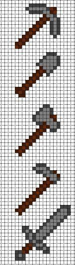 Minecraft Stone Tools perler bead pattern.  Could be used for a crochet granny square afgan
