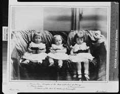 Two of Arthur and Louise's children (middle and right), Prince Arthur and Princess Margaret of Connaught, with their cousin, Princess Alice of Albany (left), the daughter of their paternal uncle, Prince Leopold, Duke of Albany. 1884