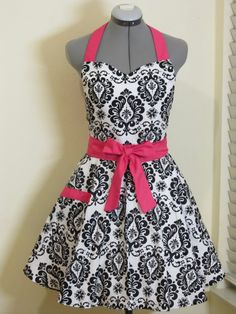 Sweetheart Hostess Apron-Black Damask with Hot Pink.. Full of Twirl Flounce. $35.00, via Etsy.