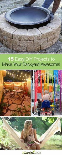 15 Easy DIY Projects to Make Your Backyard Awesome • A great roundup that has tons of Ideas and Tutorials for you!!!