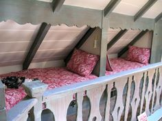 Interior Comstock House, Carmel, CA,  built in beds under the eaves