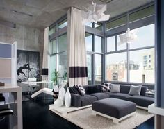 Stunning bachelor pad living room with lovely drapes [ Wainscotingamerica.com ] #family #wainscoting #design