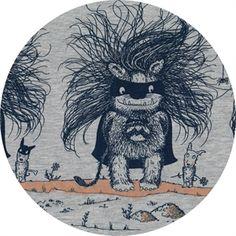 Økologisk jersey stof med troldelignende monster