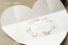 Will you be my Bridesmaid Folded Heart by KarmaPaperCoWeddings