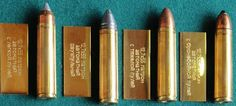 12.7x55 ammunition for ASh-12.7 assault rifle, L-R: with light bullet, with duplex load, with heavy bullet, with AP bullet