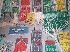 Vintage 1950's Paris street scene barkcloth. I now have this design on a biscuit tin!!