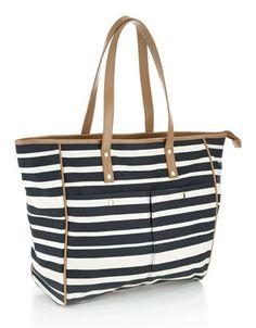 Gewachste Shopping-Tasche mit Streifen