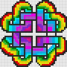 Rainbow Heart Perler Bead Pattern This would make a nice biscornu too. Kandi Patterns, Pearler Bead Patterns, Perler Patterns, Beading Patterns, Beaded Cross Stitch, Cross Stitch Charts, Cross Stitch Embroidery, Cross Stitch Patterns, Perler Bead Art