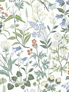 Flower Background Wallpaper, White Wallpaper, Print Wallpaper, Flower Backgrounds, Cool Wallpaper, Pattern Wallpaper, Wallpaper Ideas, Scandinavian Folk Art, Botanical Wallpaper