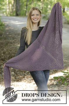 Amethyst amour / DROPS - free knitting patterns by DROPS design ., Amethyst Amour / DROPS - Free knitting patterns by DROPS Design Free knitting patterns. Shawl Patterns, Knitting Patterns Free, Free Knitting, Free Pattern, Kids Knitting, Knitting Charts, Drops Design, Baby Hoodie, Tuto Tricot