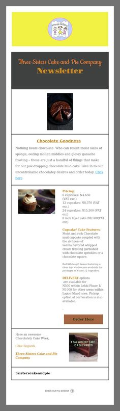 Three Sisters Cake And Pie Company Newsletter  Three Sisters Cake