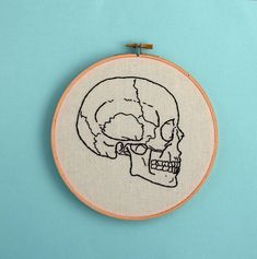 Items similar to anatomically correct skull embroidery medical textbook skull diagram science art wall decor skeleton room decor office decor decor on Etsy Hand Embroidery Stitches, Embroidery Hoop Art, Cross Stitch Embroidery, Cross Stitch Patterns, Embroidery Designs, Embroidery Techniques, Medical Textbooks, Diy Broderie, Science Art