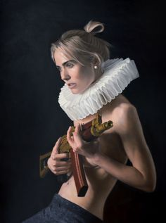 renaissance girl ironic golden age millstone collar art painting oil on canvas Frank E Hollywood ak47 vanitas