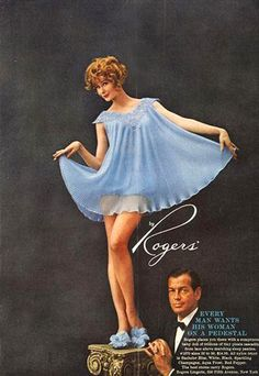 In this ad, the rather dapper man is unable to appreciate his love for her, and can only play the role of a banker in a warped romantic ideal. He is uncomfortable with his body and his forced position dictated by society whilst his love swans above happil Retro Mode, Vintage Mode, Lingerie Vintage, Retro Fashion, Vintage Fashion, Vintage Outfits, Vintage Nightgown, Only Play, Babydoll Lingerie