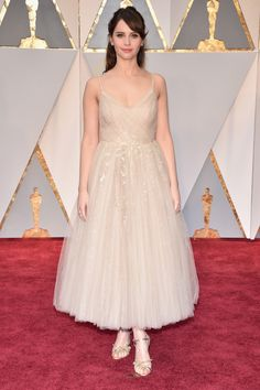 Felicity Jones in Dior. // Pretty dress in ballerina style. Love the shoes.