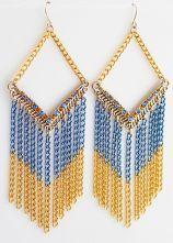 Gold Blue Diamond Chain Tassel Dangle Earrings $9.32  #SheInside