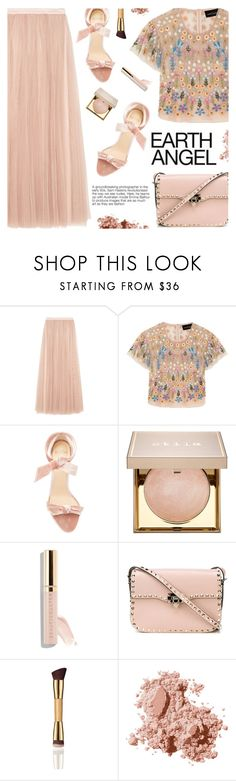 """Earth Angel"" by pokadoll on Polyvore featuring Needle & Thread, Alexandre Birman, Stila, Beautycounter, Valentino, Bobbi Brown Cosmetics, polyvoreeditorial and polyvoreset"