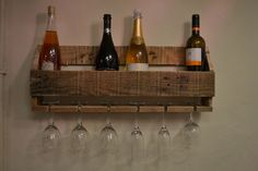 Handmade Rustic Wine Rack and Glass Holder by PalletInk on Etsy https://www.etsy.com/listing/255573821/handmade-rustic-wine-rack-and-glass
