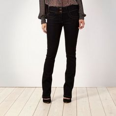 Shape enhancing dark blue bootcut jeans at debenhams.com
