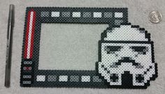 Star Wars Stormtrooper Photo Frame Hama Beads by PerlerHamaParadise
