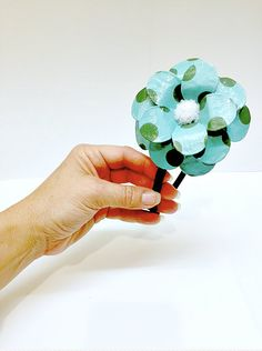 Pretty in Turquoise! Fun Polka Dottie Paper Mache Headband!  * The daisy petals have been sculpted and covered in a fun turquoise paper with green