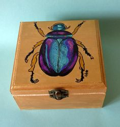 Escarabajo pintado Caja de madera decorada Escarabajo pintado