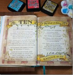 Bible Journaling: Week 6 | Paulette's Papers Exodus Ten Commandments NIV, Beautiful Word Coloring Bible