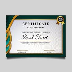 Certificate Of Achievement Template, Certificate Design, Certificate Templates, Award Certificates, Green Certificate, Basic Software, Word Template Design, Pink And White Background, Award Template