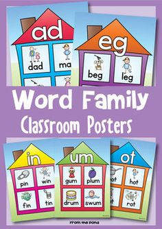 kindergarten work family posters | Word Family Houses - Posters for the Classroom