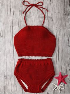 Crochet Halter High Waisted Bathing Suit - RED ONE SIZE(FIT SIZE XS TO M)