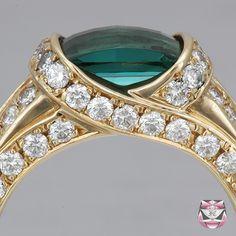 Blue Green Tourmaline Rings | Estate Green Tourmaline Ring