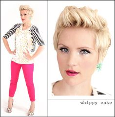 Becki from Whippy Cakes is just so flipping cute in her faux hawk and pink pants