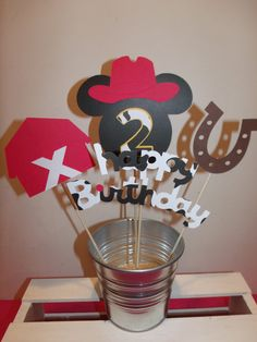 Western Mickey Mouse Birthday Centerpiece
